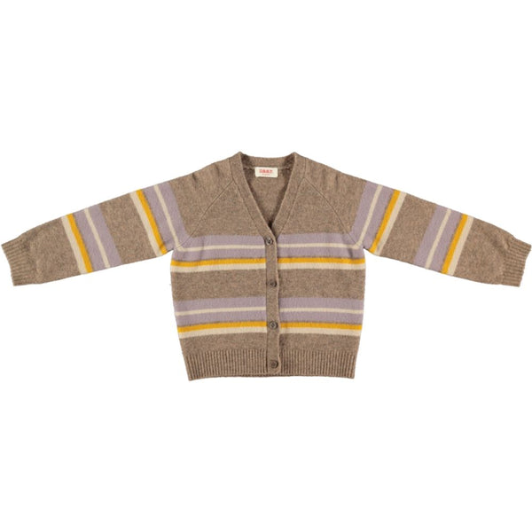 PERRIAND Knitted Cardigan - Camel Stripe