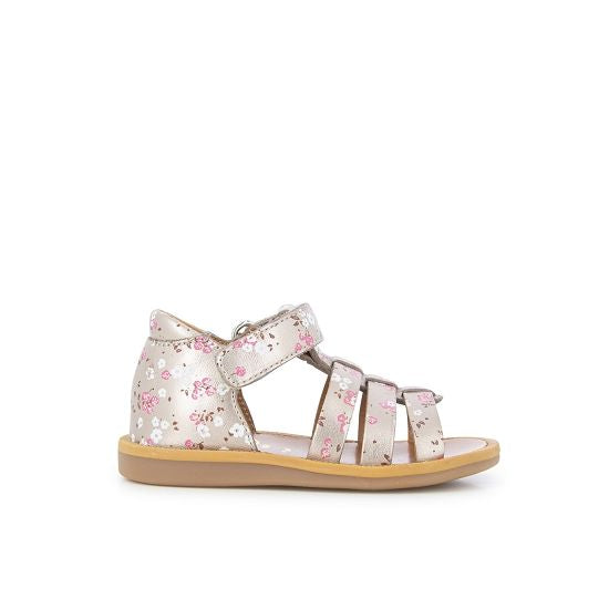 Poppy Strap Sandals with Ankle Strap - Gold Floral Print