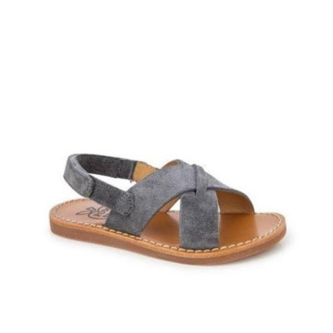 Plage Stitch Cross Suede Sandal - Grey