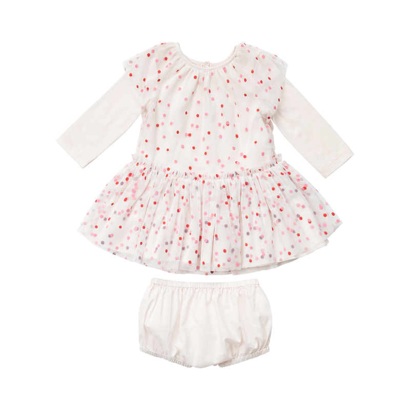 BABY Long Sleeve Polka Dot TULLE DRESS