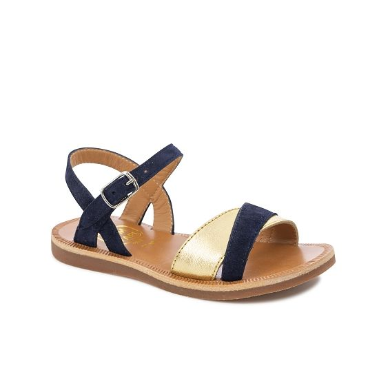 Plagette Tek Suede/Leather Combo Sandal - Navy/Gold
