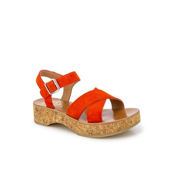 Corky Cross Suede Sandals - Red