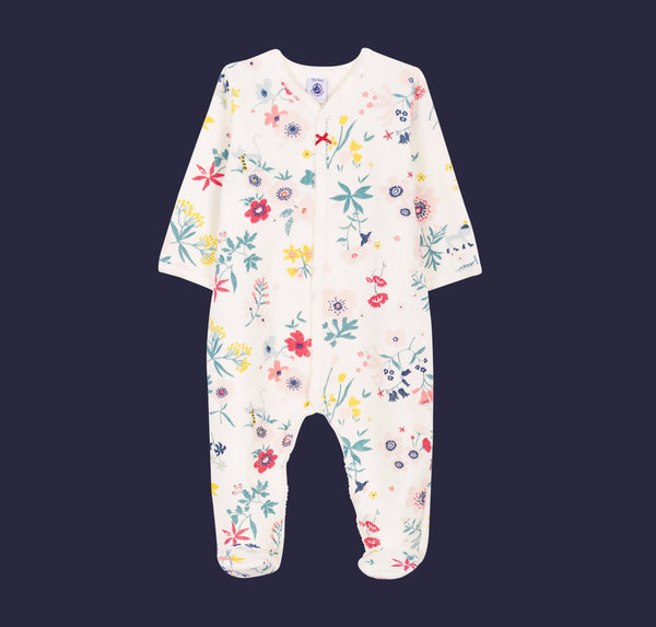 Floral Printed Sleeper with Feet