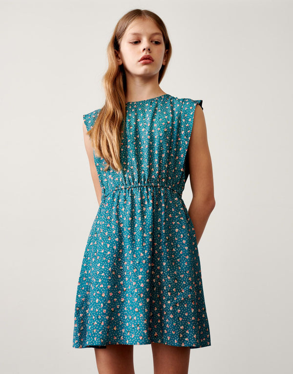 PUPPER Floral Print DRESS - Blue