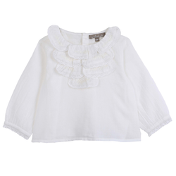 Long Sleeve Top with Lace Ruffle Detail - Ecru