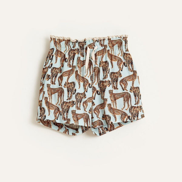 AVA Cheetah Print SHORTS -  Blue
