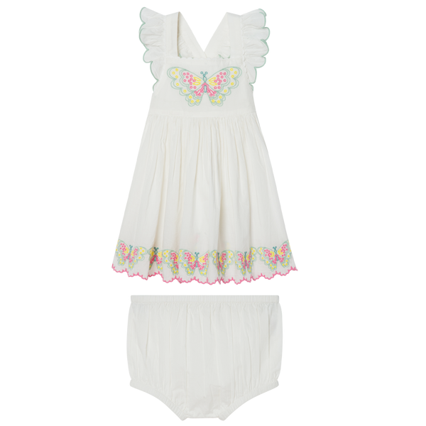 BABY GIRL DRESS WITH BUTTERFLIES EMBROIDERY - WHITE