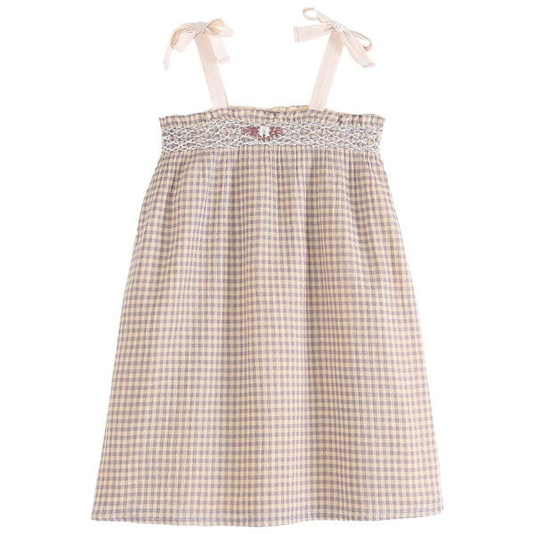 Sleeveless Gingham Dress with Smocking Detail - Peche