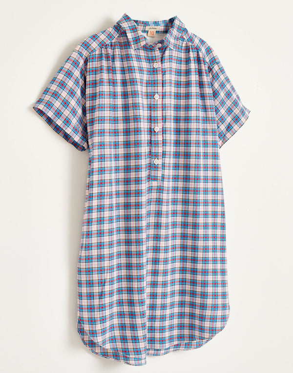 ADJANI Checked ShirtDRESS - Blue/pink