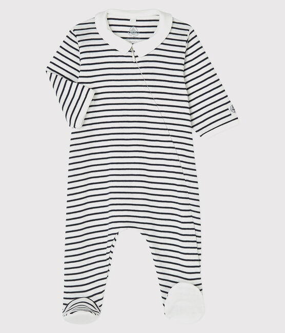 Navy & White Striped Cotton Sleepsuit - 5572801
