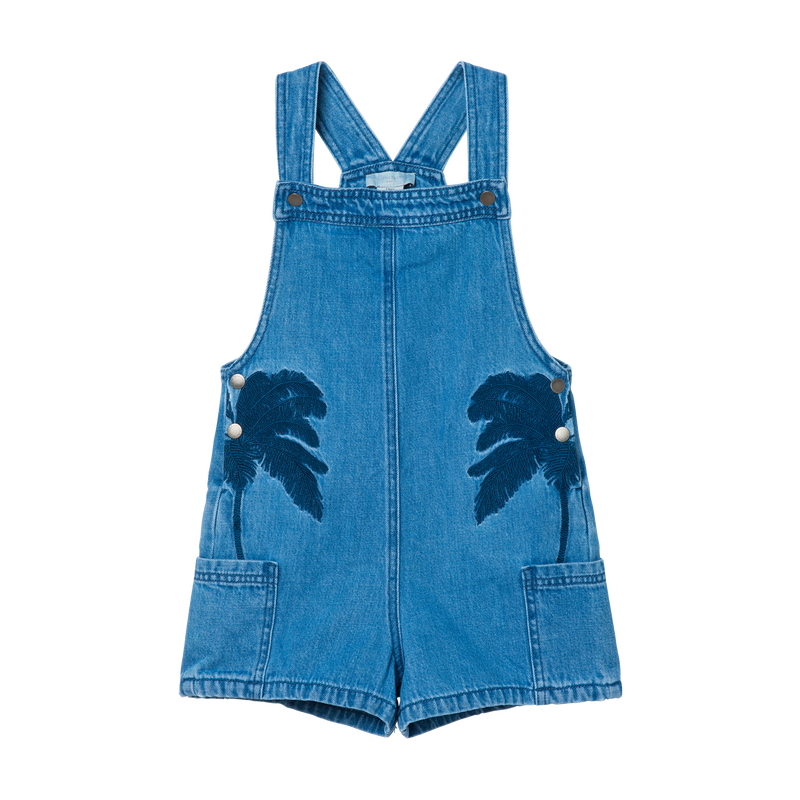 DENIM DUNGAREE WITH PALMS - BLUE