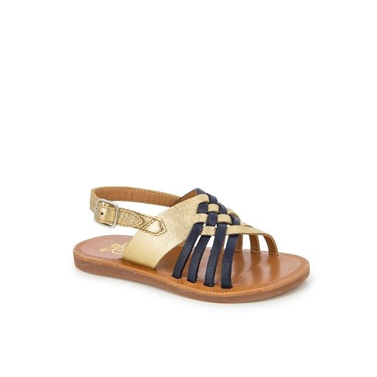 Plagette Cut Interwoven Leather Sandal - Gold/Navy