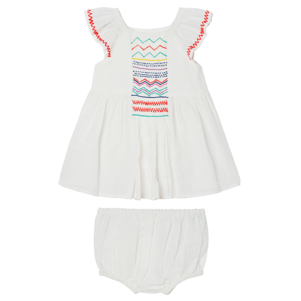 BABY GIRL DRESS WITH SMOCKING - WHITE