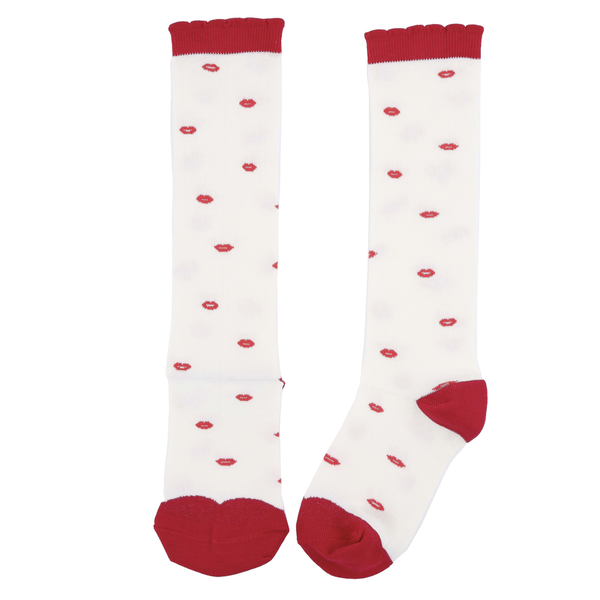 Red Embroidered Lips Socks - Ecru