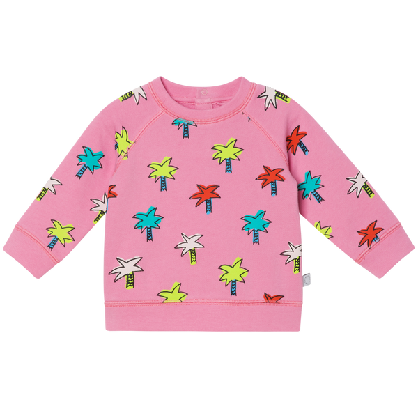 BABY GIRL DOODLY PALMS SWEATSHIRT - PINK