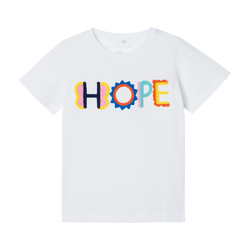 Short Sleeve TEE WITH HOPE EMBroidery - WHITE