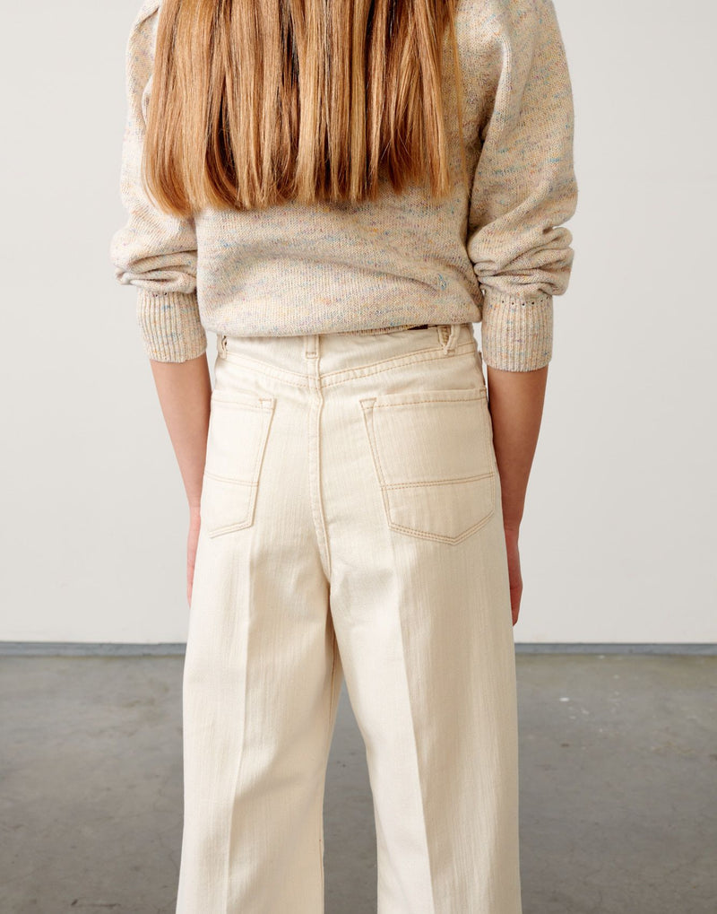POPY High Waisted Denim Trousers - NATURAL
