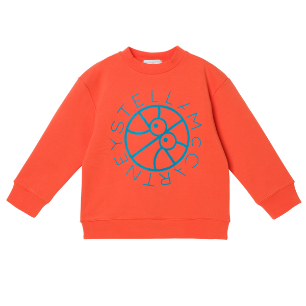 BASKETBALL PRINT SWEATSHIRT - ORANGE