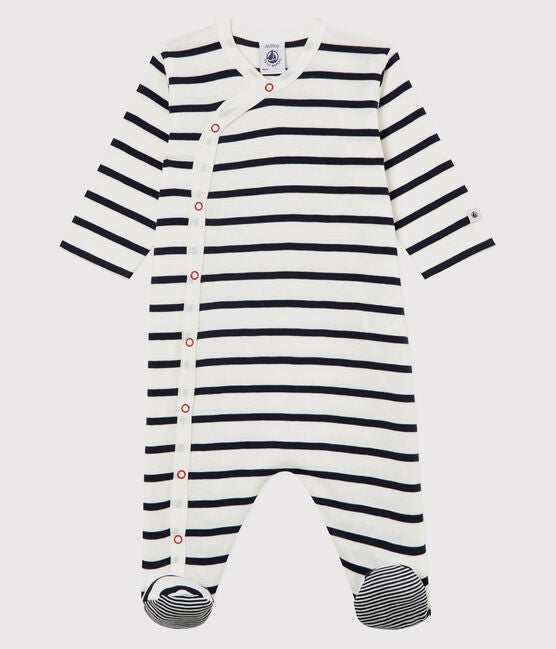 Sleeper with Feet - Navy/Ecru Stripe - 5549301
