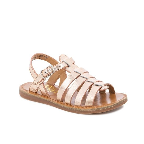 Plagette Strap Leather Gladiator Sandal - Rosegold