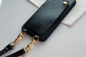 HOLSTERE Leather iPhone Case Crossbody Cell Phone Purse with Wallet Card Holder and Strap Black