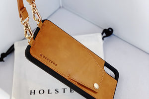 HOLSTERE Leather iPhone Case Crossbody Cell Phone Purse with Wallet Card Holder and Strap Tan