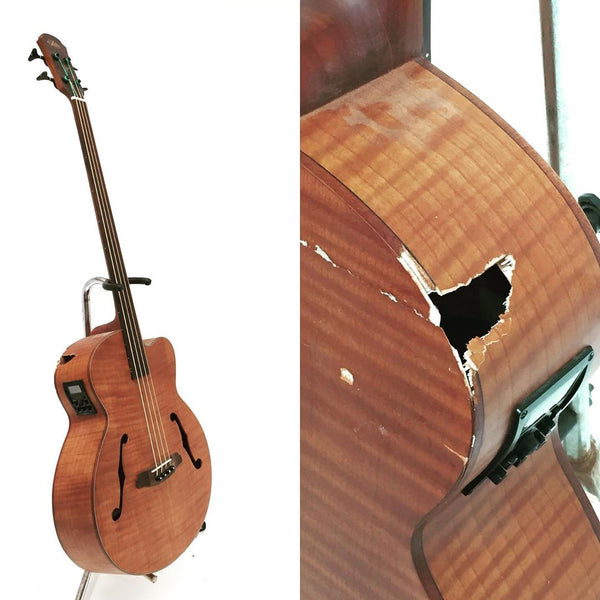 Aria - FEB-FL - Fretless Acoustic Bass with Pickup - Damaged but awesome.