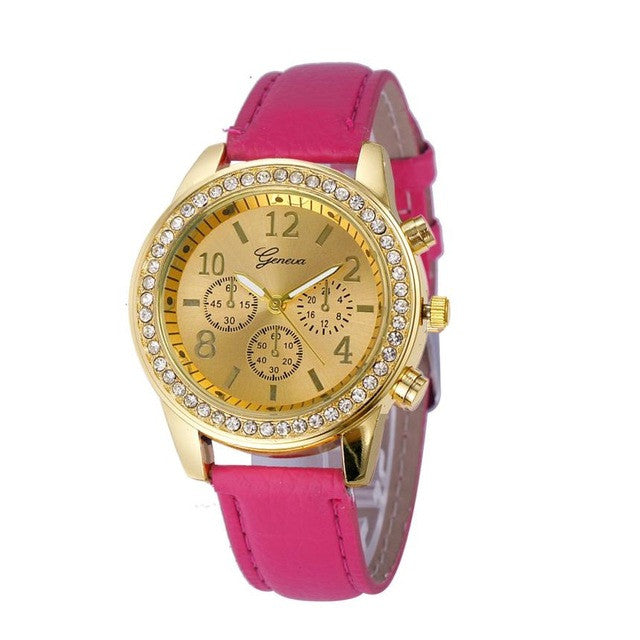 Quartz Watch Women Clock 2017 Ladies Wrist Watches Female Famous Luxury Brand Classic Round Ladies Women Crystals Watch