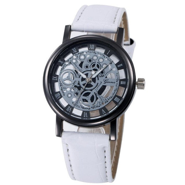 Genvivia Watches Top Brand Luxury Hollow Analog Quartz Stainless