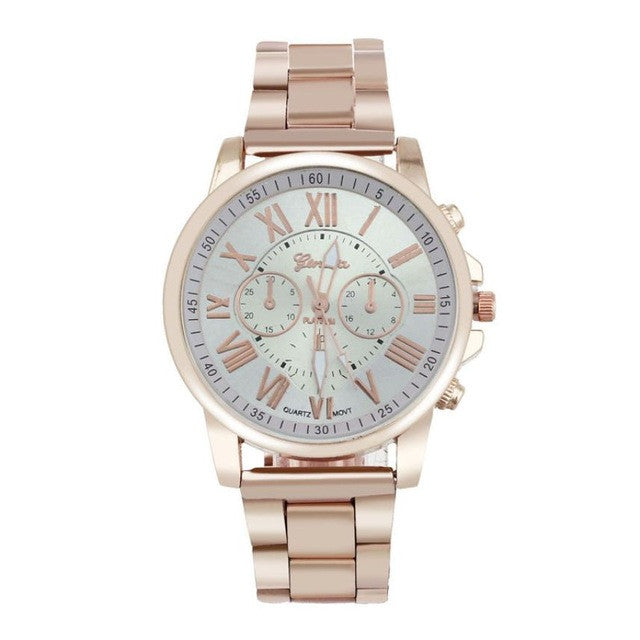 2017 Fashion Women's Watches Geneva Roman Number Stainless Steel Analog Rose Gold Quartz Wrist Watch Ladies Dress Watch &02