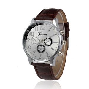 New Fashion Busniess Mens Watches PU Leather Geneva Clock Men Retro