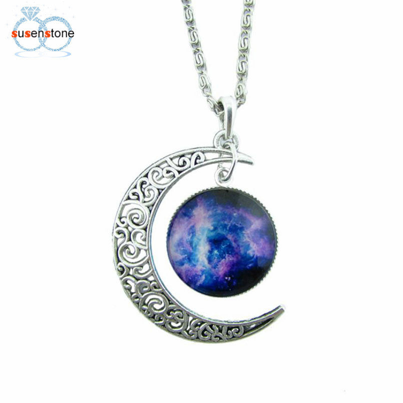 SUSENSTONE Antique Vintage Moon Time Necklace Sweater Chain Pendant Jewelry