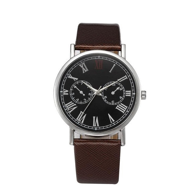 Luxury Top Brand Men Watch Retro Design Leather Band Analog