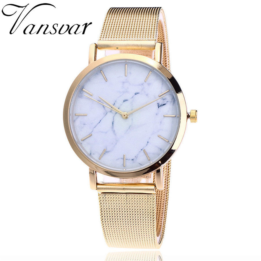 Vansvar 2019 Luxury Brand Quartz Watches Stainless Steel Mesh