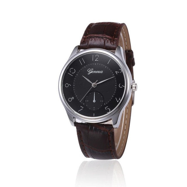 2019 New Fashion Mens Business Style Geneva Quartz Watch Leather