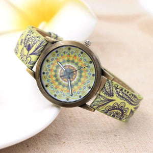 GENVIVIA Vintage	Watch Women Retro Printed Color Strap Digital Dial Leather Band