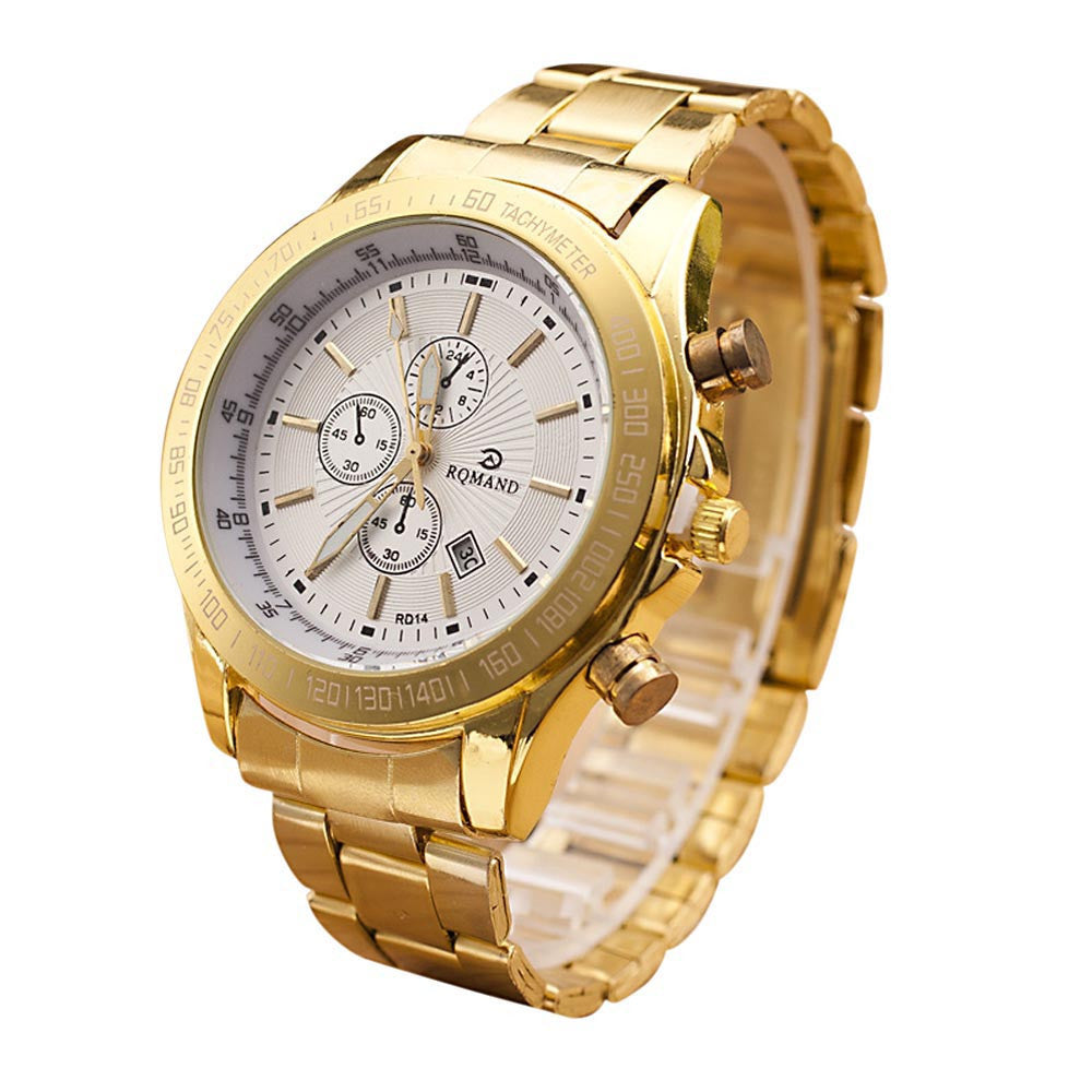 Men Stainless Steel Watch Analog Quartz Movement Wrist Watches
