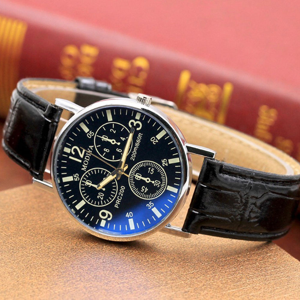 Six Pin  Watches Quartz Men's Watch Blue Glass Belt Watch