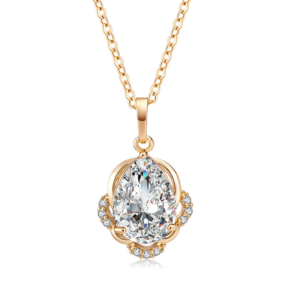 Fashion Chic Big Zircon Necklace Pendant Necklaces Birthday Gift for Women