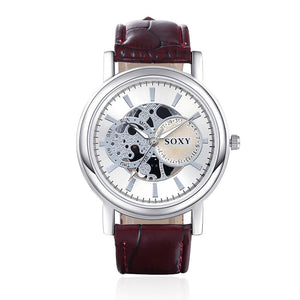 SOXY Brand New Hollow Quartz Watch Men'S Watch Leather Watch