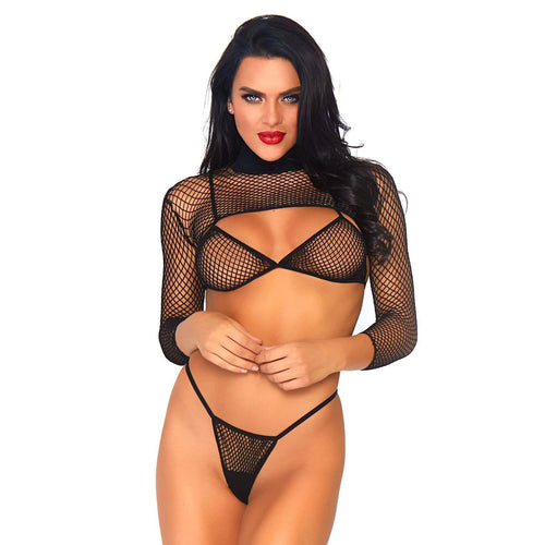 Leg Avenue Net Top, Thong And Bra UK 8-14