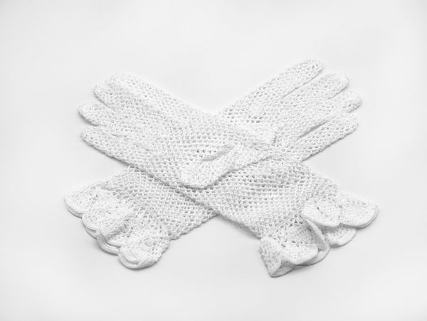 White cotton crochet gloves