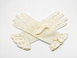 Ecru cotton crochet gloves