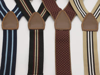 Elastic suspenders in stripes and diamond patterns