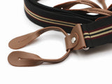 Elastic suspenders with leather button on ends