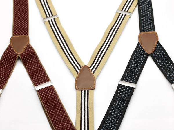 Button on elastic suspenders in classic patterns