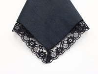 blank handkerchief with black lace border