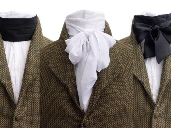 Historical cravats, adjustable and quick-rigged in a full range of styles and colors