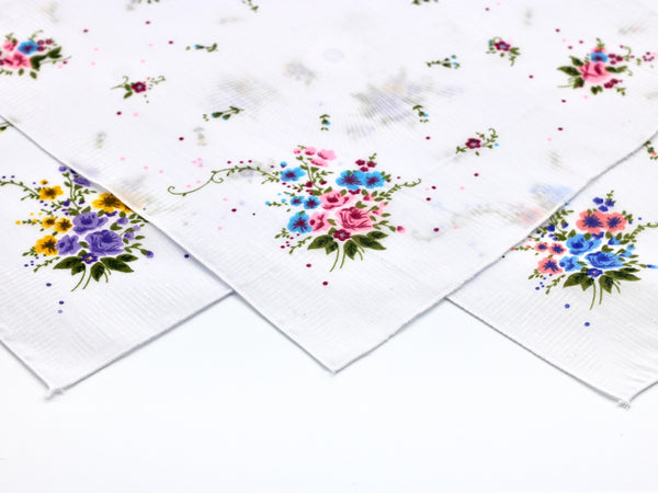 ladies vintage handkerchiefs deadstock new with floral pattern