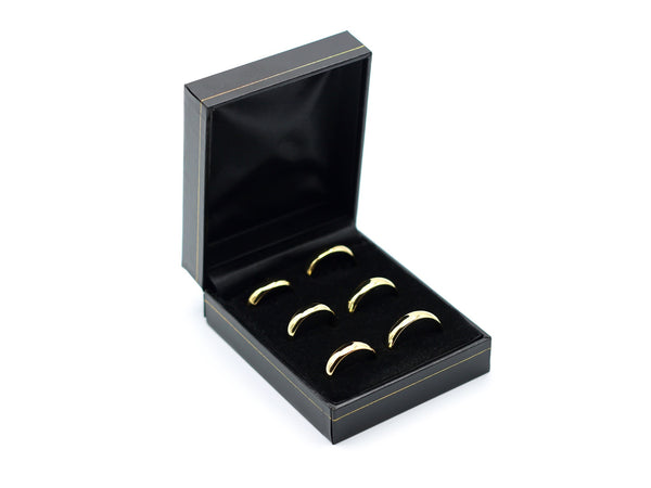 Boxed set of most popular sized wedding rings 3mm wide